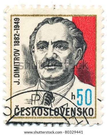 CZECHOSLOVAKIA - CIRCA 1982: A stamp printed in Czechoslovakia, shows portrait first Communist leader of Bulgaria George Dimitrov (1882-1949), circa 1982