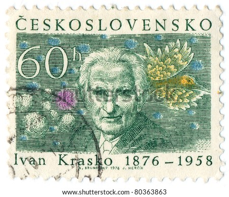 CZECHOSLOVAKIA - CIRCA 1976: A stamp printed in Czechoslovakia shows portrait Ivan Krasko - Slovak poet, translator and representative of modernism in Slovakia, circa 1976
