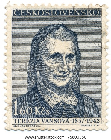 CZECHOSLOVAKIA - CIRCA 1957: A stamp printed in Czechoslovakia, shows portrait of the slovak writer Tereza Vansova (1857-1942), circa 1957