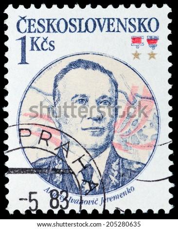 CZECHOSLOVAKIA - CIRCA 1983: A stamp printed in Czechoslovakia, shows portrait of the Soviet marshal Andrei I. Eremenko, circa 1983 - stock photo
