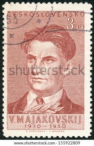 CZECHOSLOVAKIA - CIRCA 1950: A stamp printed in Czechoslovakia shows portrait of Vladimir Vladimirovich Mayakovsky (1893-1930), Poet, 20th Death Anniversary, circa 1950  - stock photo