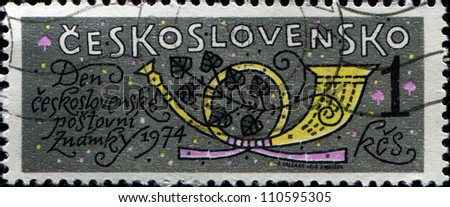 CZECHOSLOVAKIA - CIRCA 1974: A stamp printed in  Czechoslovakia shows Post Horn, circa 1974 - stock photo