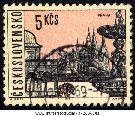 CZECHOSLOVAKIA - CIRCA 1965: A stamp printed in Czechoslovakia shows Prague City View, circa 1965 - stock photo