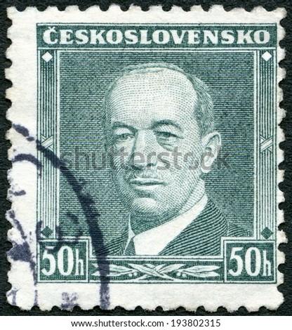 CZECHOSLOVAKIA - CIRCA 1936: A stamp printed in Czechoslovakia shows President Eduard Benes (1884-1948), circa 1936 - stock photo