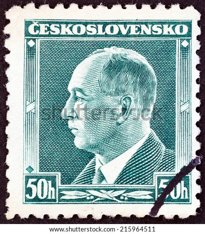 CZECHOSLOVAKIA - CIRCA 1937: A stamp printed in Czechoslovakia shows president Edvard Benes, circa 1937. - stock photo