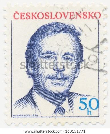 CZECHOSLOVAKIA - CIRCA  1990: A stamp printed in Czechoslovakia shows President Vaclav Havel, circa 1990 - stock photo