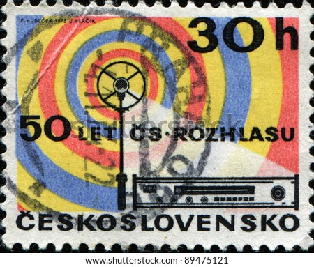 CZECHOSLOVAKIA - CIRCA 1973: A stamp printed in Czechoslovakia shows Radio Aerial and Receiver 50th anniversary of Czech broadcasting , circa 1973 - stock photo