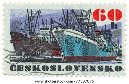 "CZECHOSLOVAKIA - CIRCA 1972: A stamp printed in Czechoslovakia, shows research vessel ""Mir"", circa 1972 - stock photo"