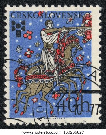 CZECHOSLOVAKIA - CIRCA 1975: A stamp printed in CZECHOSLOVAKIA  shows Rider on a fairy-legged horse, circa 1975