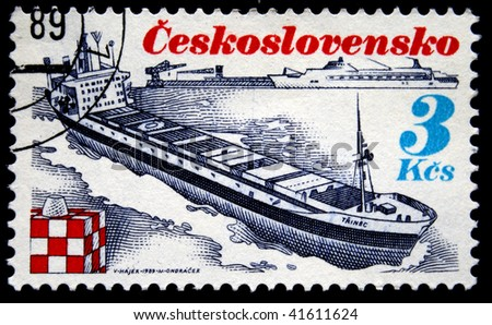 CZECHOSLOVAKIA - CIRCA 1978: A Stamp printed in Czechoslovakia shows ship Trinec, circa 1978