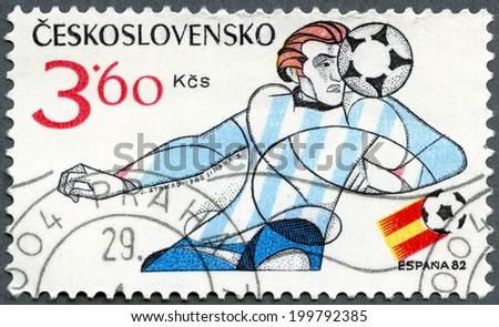 CZECHOSLOVAKIA - CIRCA 1982: A stamp printed in Czechoslovakia shows soccer player, 1982 FIFA World Cup, Spain, circa 1982 - stock photo