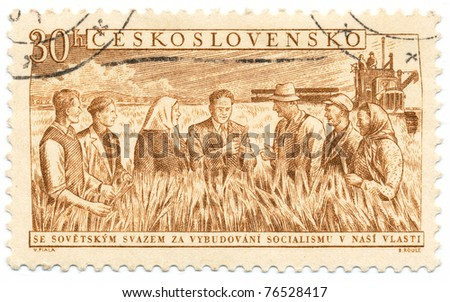 CZECHOSLOVAKIA - CIRCA 1954: A stamp printed in Czechoslovakia, shows Soviet Representative Giving Agricultural Instruction, circa 1954 - stock photo