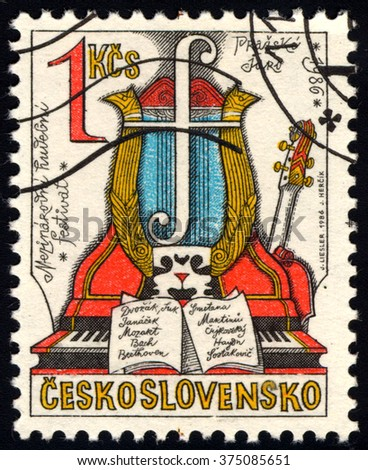 CZECHOSLOVAKIA - CIRCA 1986: A stamp printed in Czechoslovakia shows Spring of Prague Music Festival, circa 1986 - stock photo