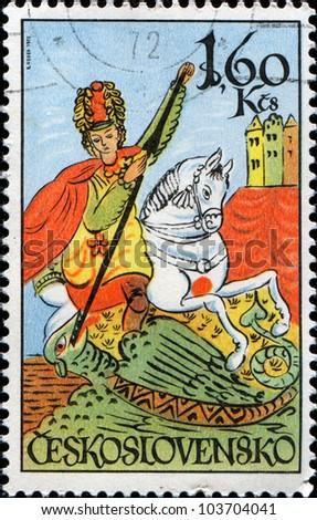 CZECHOSLOVAKIA - CIRCA 1972: A stamp printed in Czechoslovakia shows St. George, circa 1972 - stock photo