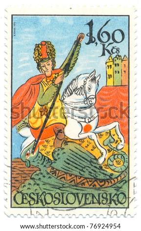 CZECHOSLOVAKIA - CIRCA 1972: A stamp printed in Czechoslovakia, shows St. George, circa 1972 - stock photo