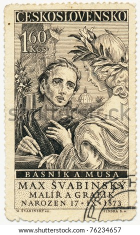 CZECHOSLOVAKIA - CIRCA 1959: A stamp printed in Czechoslovakia, shows the artist and the Muse, circa 1959