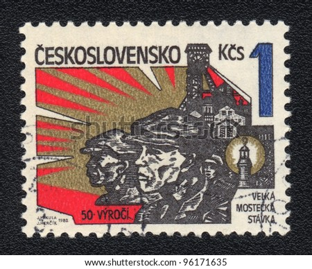 CZECHOSLOVAKIA - CIRCA 1982: A stamp printed in CZECHOSLOVAKIA  shows The great Most strike, from series, circa 1982