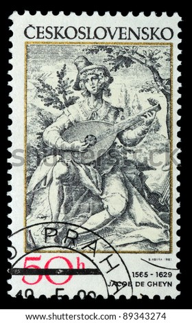 CZECHOSLOVAKIA - CIRCA 1982: A stamp printed in Czechoslovakia, shows the lute player, by Jacob de Gheyn (1565-1629), series, circa 1982