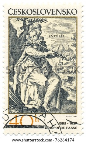 CZECHOSLOVAKIA - CIRCA 1982: A stamp printed in Czechoslovakia, shows the muse Euterpe playing a flute, by Crispin de Passe (1565-1637), series, circa 1982