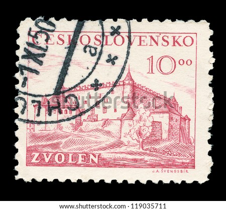 CZECHOSLOVAKIA - CIRCA 1949: A stamp printed in Czechoslovakia, shows the Zvolen is a town in central Slovakia, circa 1949 - stock photo