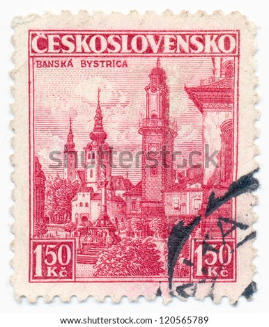 CZECHOSLOVAKIA - CIRCA 1936: A stamp printed in Czechoslovakia, shows Town of Banska Bystrica, circa 1936