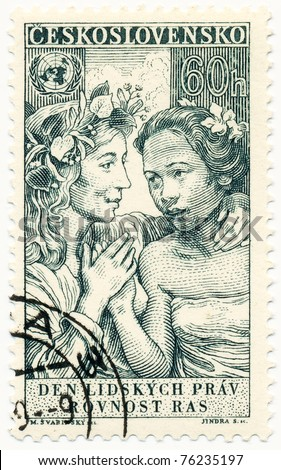 CZECHOSLOVAKIA - CIRCA 1959: A stamp printed in Czechoslovakia, shows two womens, devoted equality of all races, circa 1959