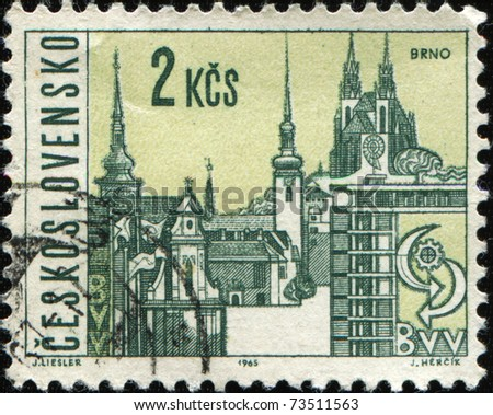 CZECHOSLOVAKIA - CIRCA 1965: A stamp printed in Czechoslovakia shows view of Brno, circa 1965 - stock photo