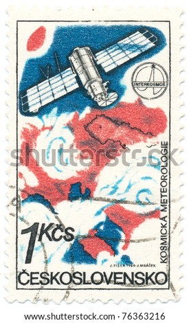 CZECHOSLOVAKIA - CIRCA 1980: A stamp printed in Czechoslovakia, shows weather map, satellite. Using satellites to study meteorology, circa 1980