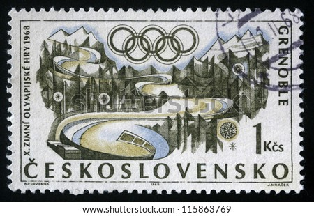 CZECHOSLOVAKIA CIRCA 1968: A stamp printed in Czechoslovakia shows Winter Olympic games in Grenoble, circa 1968