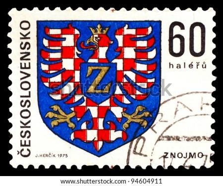 CZECHOSLOVAKIA - CIRCA 1975: A Stamp printed in CZECHOSLOVAKIA, shows Znojmo eagle emblem of red cell  , 60 Haler, znojmo, circa 1975 - stock photo