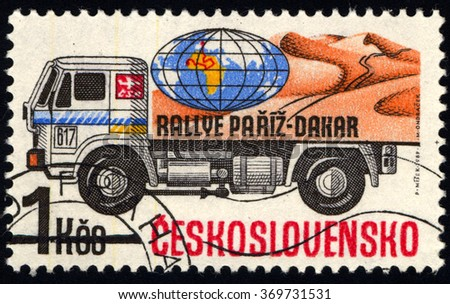 CZECHOSLOVAKIA - CIRCA 1989: A stamp printed in Czechoslovakia to commemorate Truck Competition on Rally Paris - Dakar, circa 1989 - stock photo