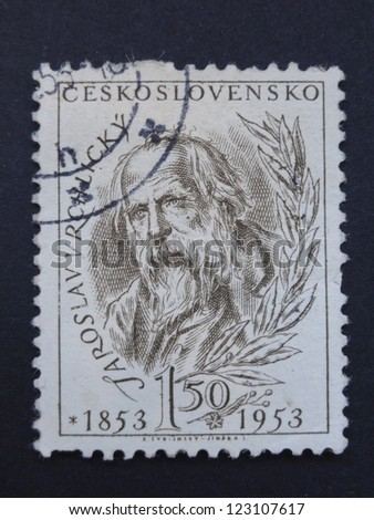 CZECHOSLOVAKIA - CIRCA 1953: A stamp printed in former Czechoslovakia  shows Czech writer and poet Jaroslav Vrchlicky, circa 1953.