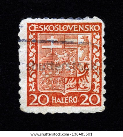 CZECHOSLOVAKIA - CIRCA 1939: a stamp printed in German Empire, DR (Slovakia) shows coat of arms of Czechoslovakia, circa 1939 - stock photo