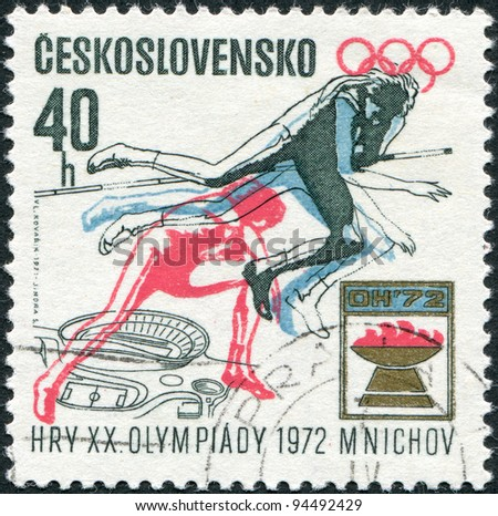CZECHOSLOVAKIA - CIRCA 1971: A stamp printed in the Czechoslovakia, dedicated to 20th Summer Olympic Games, Munich, shows the Women's high jump, Olympic emblem and plan for Prague Stadium, circa 1971 - stock photo