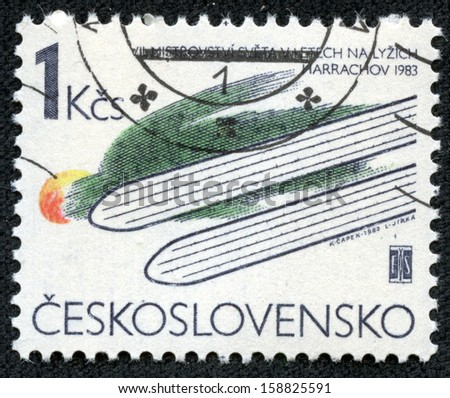 CZECHOSLOVAKIA - CIRCA 1983: A stamp printed in the Czechoslovakia, is dedicated to 7th World Ski-jumping Championships, Harrachov, circa 1983 - stock photo