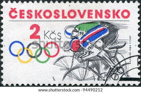 CZECHOSLOVAKIA - CIRCA 1984: A stamp printed in the Czechoslovakia, is dedicated to the Summer Olympics in Los Angeles, is shown Bicycling, circa 1984 - stock photo