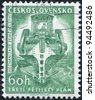 CZECHOSLOVAKIA - CIRCA 1961: A stamp printed in the Czechoslovakia, shown Ditch-digging machine, circa 1961 - stock photo