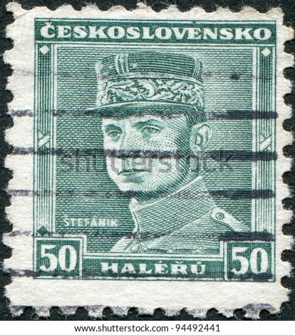 CZECHOSLOVAKIA - CIRCA 1935: A stamp printed in the Czechoslovakia, shown Milan Rastislav Stefanik, circa 1935