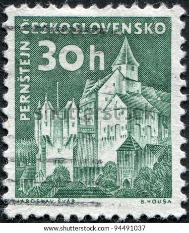 CZECHOSLOVAKIA - CIRCA 1960: A stamp printed in the Czechoslovakia, shown Pernstejn Castle, circa 1960 - stock photo