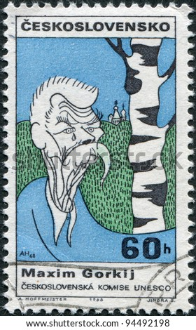 CZECHOSLOVAKIA - CIRCA 1968: A stamp printed in the Czechoslovakia, shows a caricature, Maxim Gorky, circa 1968