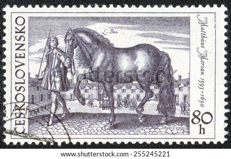 Czechoslovakia - CIRCA; a stamp printed in the Czechoslovakia shows a picture of actor Mattas Marian, Beautiful horse, circa 1969 - stock photo