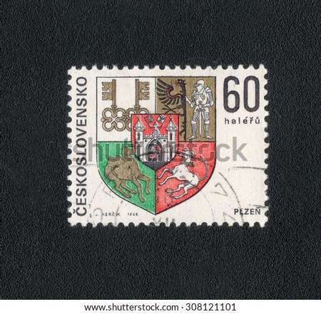 "CZECHOSLOVAKIA - CIRCA 1968: a stamp printed in the Czechoslovakia shows a series of images ""Coats of arms of cities in Czechoslovakia"", circa 1968"