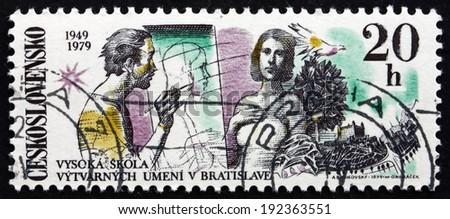 CZECHOSLOVAKIA - CIRCA 1979: a stamp printed in the Czechoslovakia shows Artist and Model, Dove, Bratislava Castle, Fine Arts Academy, Bratislava, 30th Anniversary, circa 1979 - stock photo