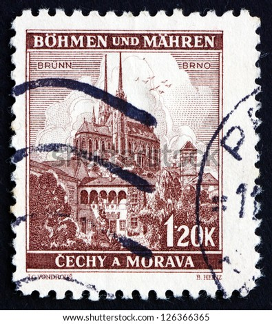CZECHOSLOVAKIA - CIRCA 1939: a stamp printed in the Czechoslovakia shows Cathedral of Saints Peter and Paul, Brno, Bohemia and Moravia, circa 1939