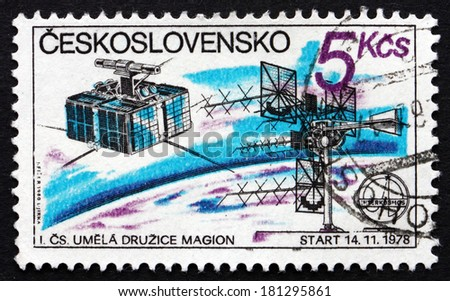 CZECHOSLOVAKIA - CIRCA 1980: a stamp printed in the Czechoslovakia shows Czech Satellite Station, 1978, circa 1980 - stock photo