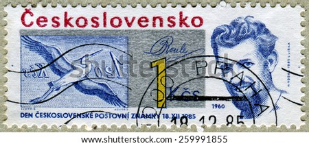 CZECHOSLOVAKIA - CIRCA 1985: a stamp printed in the Czechoslovakia shows day postmark Czechoslovakia , circa 1985 - stock photo