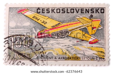 CZECHOSLOVAKIA - CIRCA 1967: A stamp printed in The Czechoslovakia shows image famous aerobatic plane Zlin 526, series, circa 1967 - stock photo