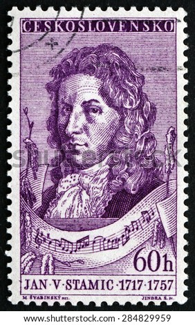 CZECHOSLOVAKIA - CIRCA 1957: a stamp printed in the Czechoslovakia shows Jan Vaclav Stamic, Czech Composer and Violinist, circa 1957 - stock photo