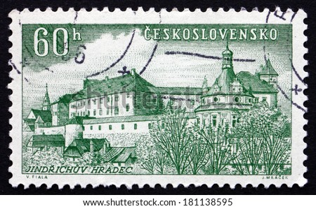 CZECHOSLOVAKIA - CIRCA 1955: a stamp printed in the Czechoslovakia shows Jindrichuv Hradec, Town in the South Bohemian Region of the Czech Republic, circa 1955 - stock photo