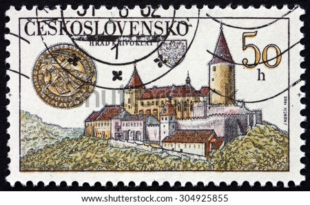 CZECHOSLOVAKIA - CIRCA 1982: a stamp printed in the Czechoslovakia shows Krivoklat Castle, is Located in the Central Bohemia Region of the Czech Republic, circa 1982 - stock photo